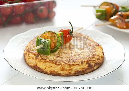 Omelette With Grilled Vegetable Skewer