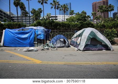 6/20/2019 Los Angeles, California: Homeless Tent Camps and Homeless People in Los Angeles California. Approximately 60,000 persons may be found homeless on any given night in LA. Editorial Use only.