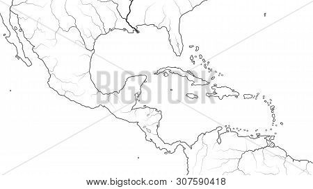 World Map Of Central America And Caribbean Basin Region: Mexico, Cuba, Guatemala, Yucatan, Caribbean