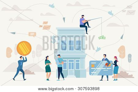 Consumer Loan, Financing Small Business, Startup Investment Flat Vector Concept. Entrepreneur With T