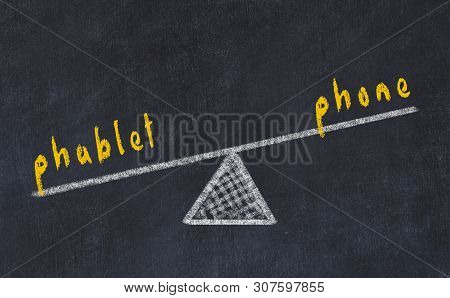 Chalk Board Sketch Of Scales. Concept Of Balance Between Phone And Phablet