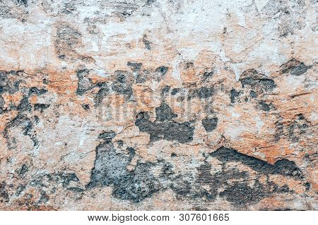 Old Wall Background With Holles And Concrete