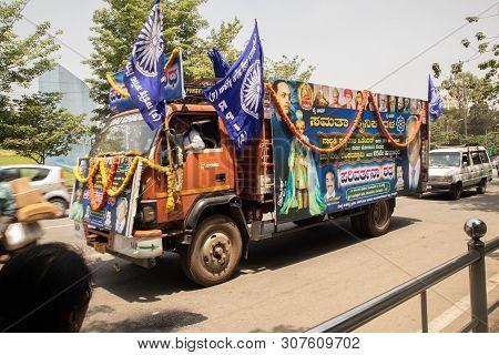 Bangalore, Karnataka India-june 04 2019 : Procession Of Samata Sainik Dal Moving Near Freedom Park B