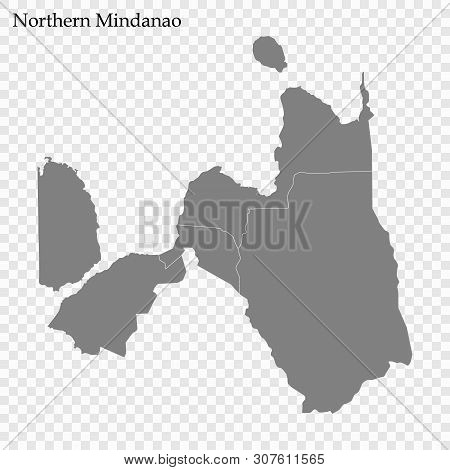 High Quality Map Of Northern Mindanao Is A Region Of Philippines, With Borders Of The Provinces