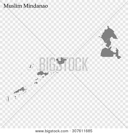 High Quality Map Of Autonomous Region In Muslim Mindanao Is A Region Of Philippines, With Borders Of