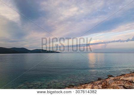 Sea In Sunrise Nature Landscape. Clouds And Sea Landscape. Sea Nature In Sunrise. Nature Landscape.