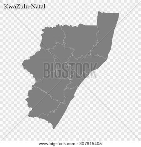 High Quality Map Of Kwazulu-natal Is A Province Of South Africa, With Borders Of The Districts