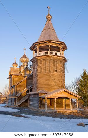 The Old Wooden Church Of Dmitry The Solunsky Myrrh-streaming In Close-ups In The Rays Of The Setting