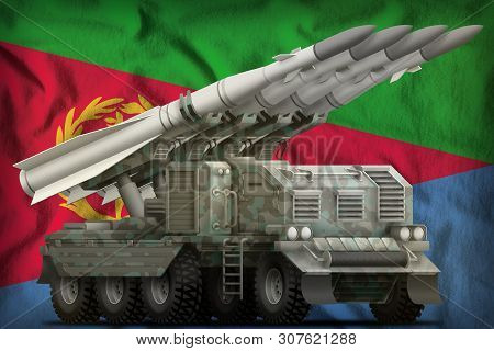 Tactical Short Range Ballistic Missile With Arctic Camouflage On The Eritrea Flag Background. 3d Ill