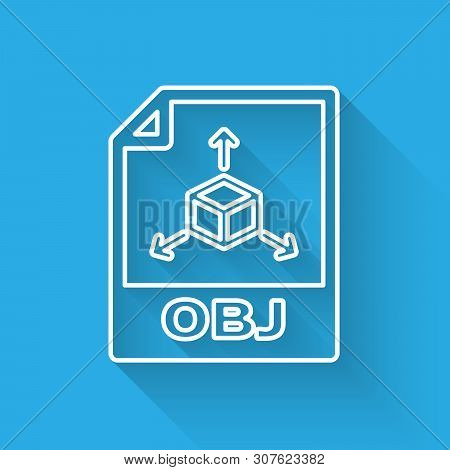 White Obj File Document Icon. Download Obj Button Line Icon Isolated With Long Shadow. Obj File Symb