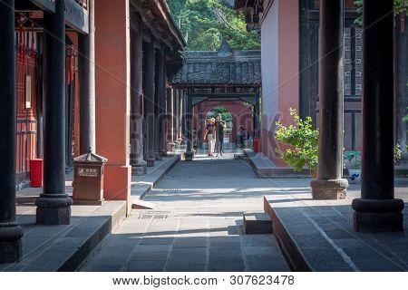 Chengdu, Sichuan Province, China - June 6, 2019 : People Walking In Wenshu Buddhist Monastery Alley