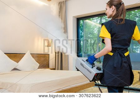 Professional Cleaning Service. Woman In Uniform And Gloves Does The Cleaning In A Cottage. Treatment