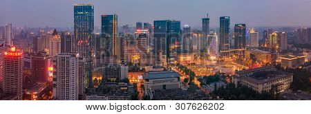 Chengdu, Sichuan Province, China -june 8, 2019 : Skyline Panorama Aerial View Of The Center Of The C