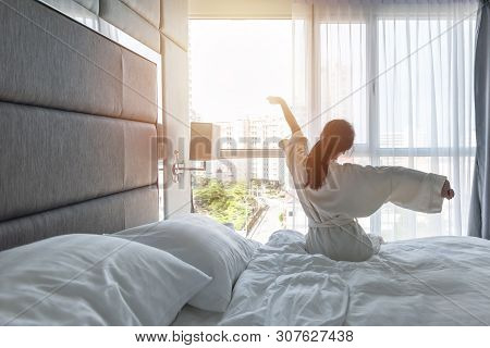 Hotel Room Comfort With Good Sleep Easy Relaxation Lifestyle Of Asian Girl On Bed Have A Nice Day Mo