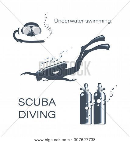 Set Of Elements For Diving. Scuba Diver Woman In Wetsuit, Scuba And Accessories. Underwater Activiti