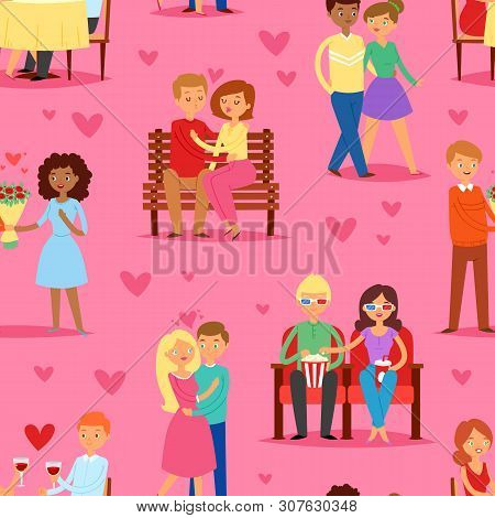 Couple In Love Vector Lovers Characters In Lovely Relationships On Loving Date Together On Valentine