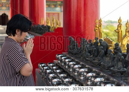 Thai Buddhism People In Buddhist Pray For Benefaction Worship To Buddha At Chinese Temple Under The