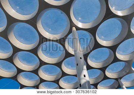 Utrecht, The Netherlands - July 07, 2018: Modern Roof With Circle Glass Windows Over Passage Near Ra
