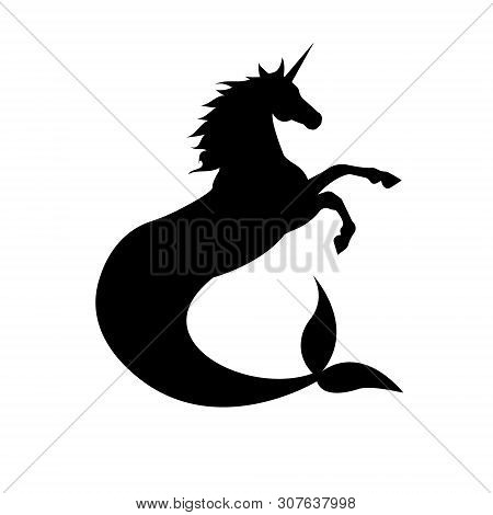 Vector Flat Black Silhouette Icon Logo Of Hippocampus Unicorn Isolated On White Background