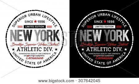 New York Typography Design Varsity United States For T Shirt Print, Vector Illustrations