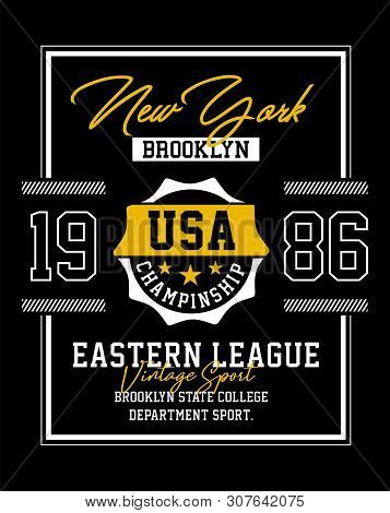 New York Typography Design Varsity United States For T Shirt Print, Front Views, Vector