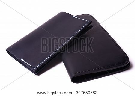 Black Handmade Leather Man Wallet And Passport Cover Isolated On White Background. Purse And Cover A