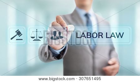 Labor law, Lawyer, Attorney at law, Legal advice business concept on screen. poster