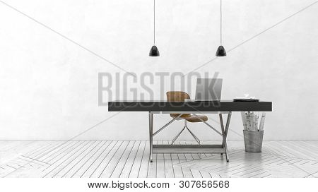 Modern white monochrome minimalist office or den with a single table style desk and chair with open laptop on a painted wood floor in a wide panorama. 3d rendering