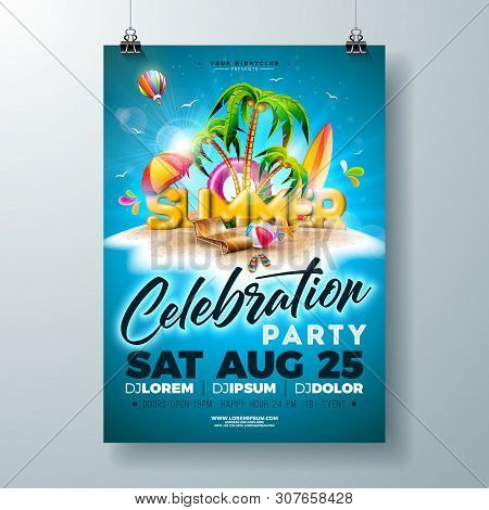 Vector Summer Party Flyer Design With 3d Typography Letter And Tropical Island On Ocean Blue Backgro