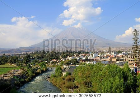 Panoramic View Of Misti Volcano And Chili River As Seen From Arequipa Old City Centre, Arequipa, Per
