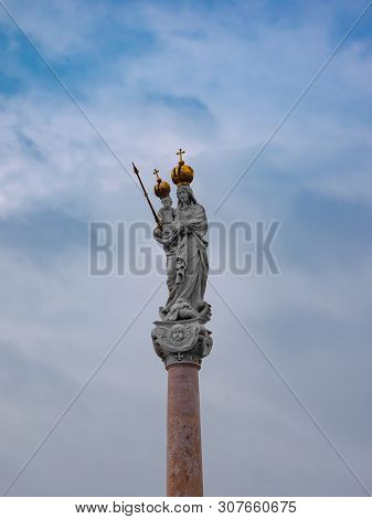 Column Of The Virgin Mary And Baby Jesus In The Main Square Of Gyor Hungary
