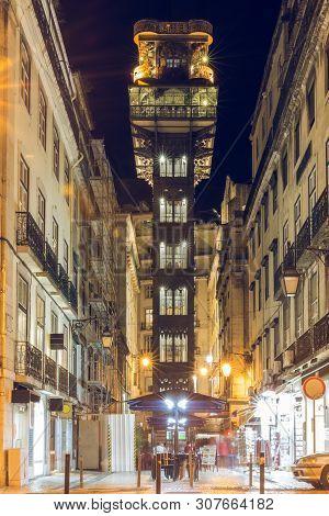 Central View On The Elevator Elevador De Santa Justa In The City Center Of Lisbon. Historical Metal