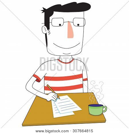 Illustration Of A Man Writes Something On Table