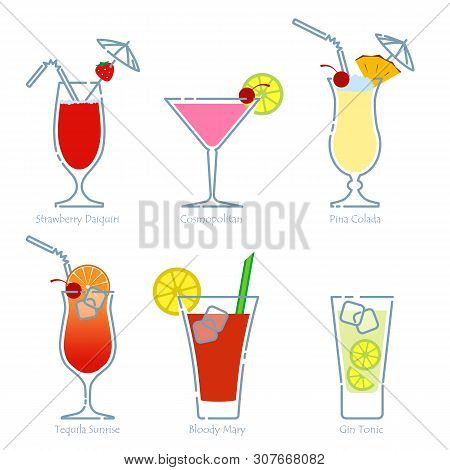 Set Of Alcoholic Cocktails Isolated On White Background. Strawberry Daiquiri, Cosmopolitan, Pina Col