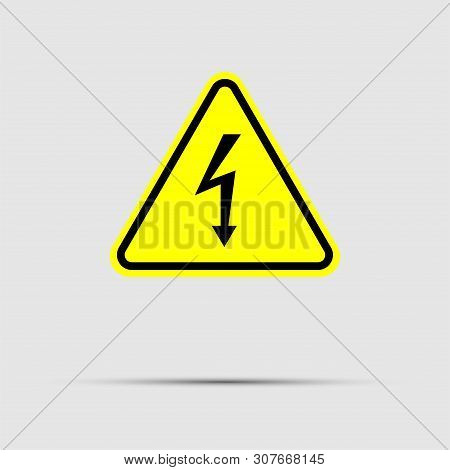 High Voltage Sign.black Arrow Isolated In Yellow Triangle On White Background.warning Icon,vector Il