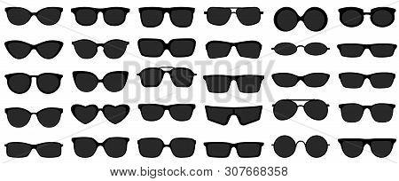 Sunglasses Icons. Black Sunglass, Mens Glasses Silhouette And Retro Eyewear Icon. Polarized Geek Gla