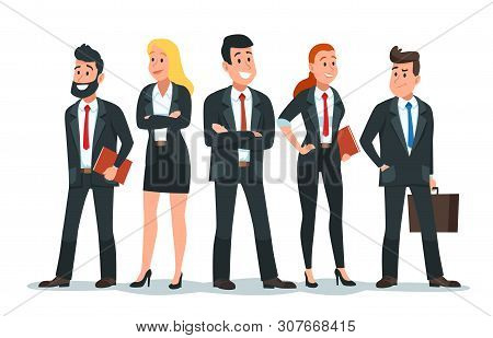 Business People Team. Office Teamwork, Professional Finance Workers Group And Businessman Characters