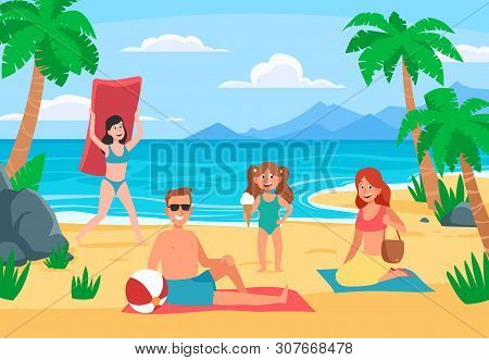 Family Beach Vacation. Young Family With Happy Kids Sunbathing On Sand Beach, Summer Seashore. Roman