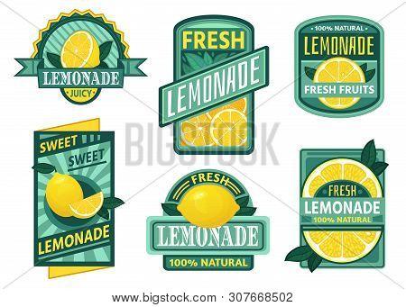 Lemonade Badge. Lemon Syrup, Fresh Lemonades Emblems And Lemons Fruits Juice Drink Vintage Badges. V