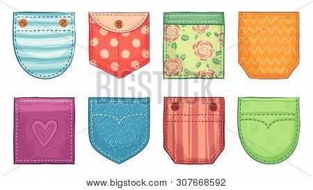 Color Patch Pockets. Comfort Pocket Patches With Seam, Denim Patched Pockets Buttons And Comfortable