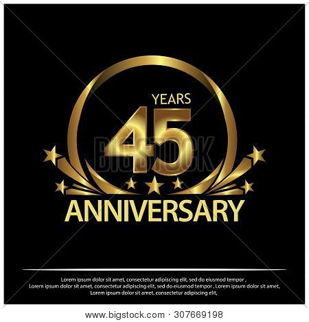 Forty Five Years Anniversary Golden. Anniversary Template Design For Web, Game ,creative Poster, Boo