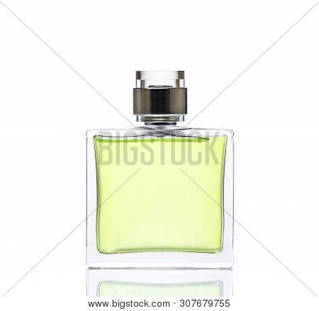 Luxurious Green  Perfume. Feminine Beauty Concept / Studio Photography Of Perfume Bottle - Isolated