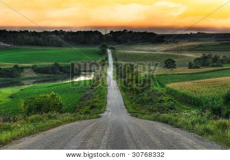 Rural Evening - Center Of Road