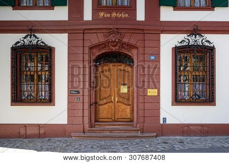 Basel, Switzerland - April 17, 2019. House Zum Delphin - 18th Century Town House In The Historic Cen