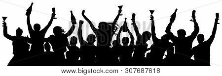 Сrowd Of People Booze Holds Alcohol In Hands. Party Holiday Silhouette Vector. People Are Holding Ch