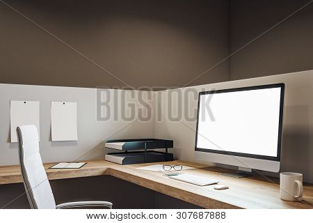Clean Office With Empty Computer