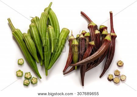 Fresh Green And Red Okra