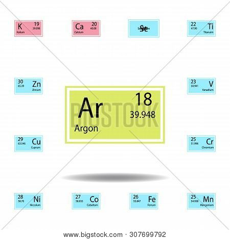 Periodic Table Element Argon Color Icon. Set Of Chemical Sign Color Icon. Signs And Symbols Collecti