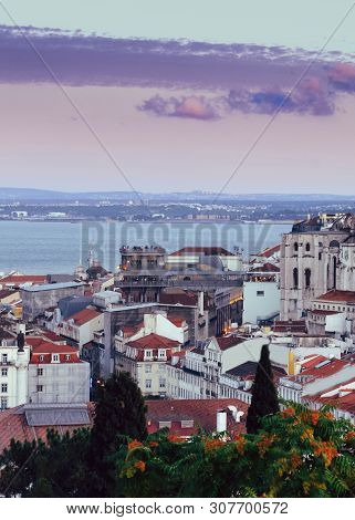 High Perspective View Of Santa Justa Elevator In Baixa Downtown District Of Lisbon, Portugal