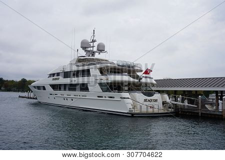 Harbor Springs, Michigan / United States - May 24, 2017: The Superyacht Sequest, Owned By Us Secreta